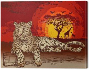 Obraz na Płótnie Leopard o zachodzie słońca