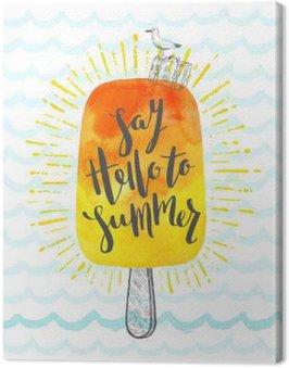 Letnie wakacje ręcznie rysowane ilustracji wektorowych z pędzla kaligrafii