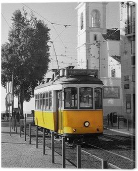 Obraz na Płótnie Lisbon Old żółty tramwaj na czarnym i białym tle