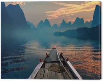 Obraz na Płótnie Łódka jazda w rzece podczas zachodu słońca obok pięknego wierzchowca