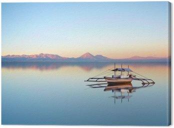 Obraz na Płótnie Łódź rybacka na filipińskiej oceanu na piękny dzień słońca.