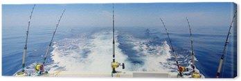 Obraz na Płótnie Łodzi rybackich trolling panoramiczny pręt i bębny błękitne morze