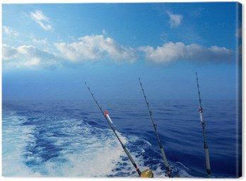 Obraz na Płótnie Łodzi rybackich trolling w głębokim niebieskim morzu oceanu