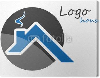 Obraz na Płótnie Logo szary dach dom niebieski