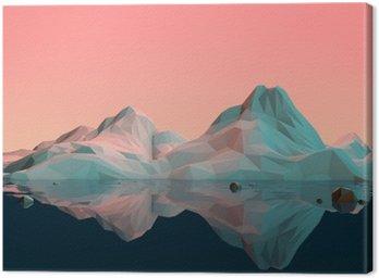 Obraz na Płótnie Low-Poly 3D krajobraz górski z wodą i refleksji