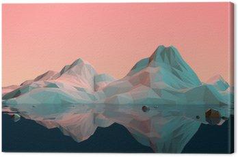 Low-Poly 3D krajobraz górski z wodą i refleksji