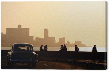 Obraz na Płótnie Ludzie i panoramę Hawanie, na Kubie, na zachodzie słońca