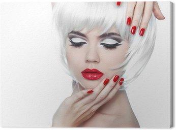 Obraz na Płótnie Makijaż i fryzura. Czerwone usta i Manicured paznokcie. Fashion Beau