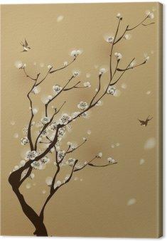 Obraz na Płótnie Malarstwo styl orientalny, kwiat śliwy na wiosnę