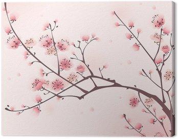 Obraz na Płótnie Malarstwo styl orientalny, kwiat wiśni wiosną