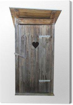 Obraz na Płótnie Małe drewniane na zewnątrz WC wyizolowanych na białym