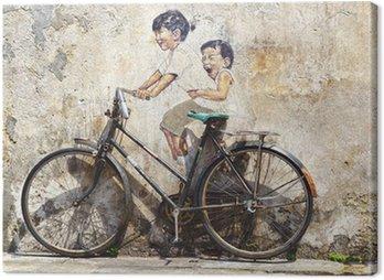 """Obraz na Płótnie """"Małe dzieci na rowerze"""" mural."""