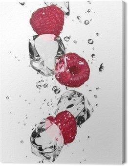 Obraz na Płótnie Maliny z kostkami lodu, samodzielnie na białym tle
