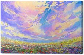 Malowanie krajobraz, kolorowe kwiaty w polu pod piękne chmury