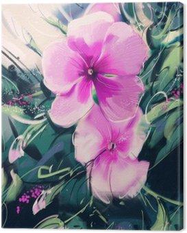 Obraz na Płótnie Malowanie Purpurowe kwiaty