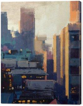 Malowanie wieżowców na zachód słońca