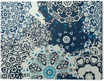 Obraz na Płótnie Mandala kwiat bez szwu wzór niebieskie tło