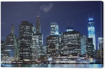 Obraz na Płótnie Manhattan skyline w nocy, New York City