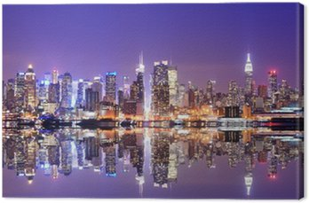 Manhattan skyline z odbicia