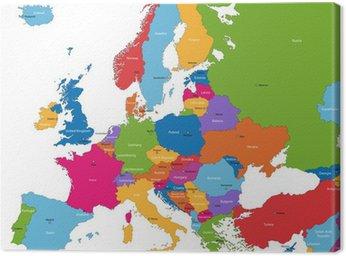 Obraz na Płótnie Mapa europy z kolorowych krajów i stolic