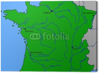 Obraz na Płótnie Mapa głównych rzek Francji
