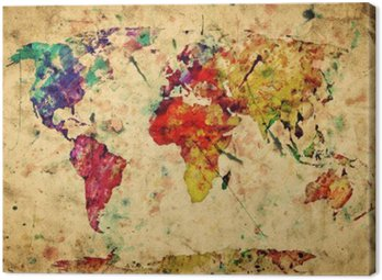 Obraz na Płótnie Mapa świata archiwalne. kolorowe farby, akwarela na papierze grunge