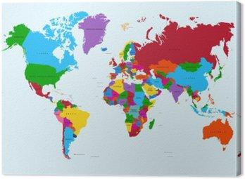 Obraz na Płótnie Mapa świata, atlas krajów kolorowe eps10 plik wektorowy.
