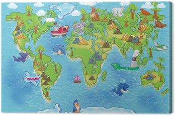 Obraz na Płótnie Mapa świata dla dzieci