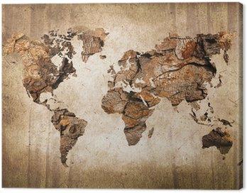 Obraz na Płótnie Mapa świata drewna, zabytkowe tekstury