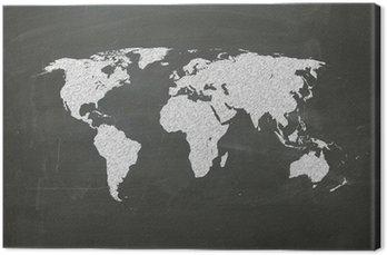 Obraz na Płótnie Mapa świata na tablicy kredą