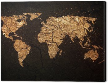 Obraz na Płótnie Mapa świata na tle grunge
