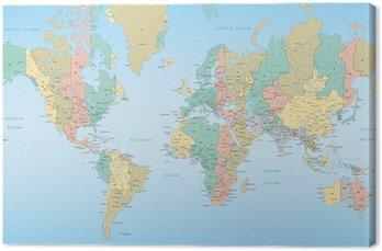 Obraz na Płótnie Mapa świata z strefami czasowymi