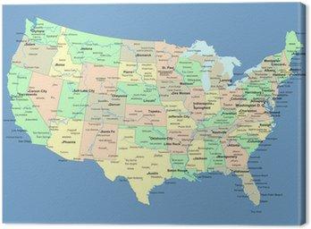Obraz na Płótnie Mapa usa z nazwami państw i miast