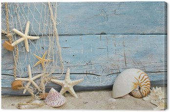 Obraz na Płótnie Maritime przypomnienia święto: net muszle, rozgwiazdy i rybołówstwo