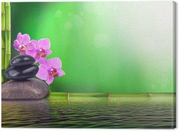 Obraz na Płótnie Martwa natura z bambusa, orchidei i kamieni