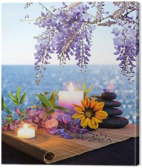 Obraz na Płótnie Masaż kamieniami, stokrotki i wisteria - dna