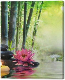 Masaż w przyrodzie - lilia, kamienie, bambus - zen koncepcji