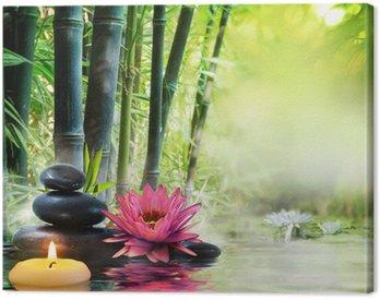 Obraz na Płótnie Masaż w przyrodzie - lilia, kamienie, bambus - zen koncepcji