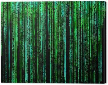 Obraz na Płótnie Matrix Kod literowy przez długi zielony.