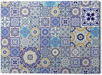 Mega szwu wzór patchwork z kolorowych płytek marokańskich