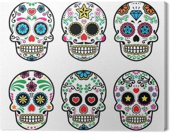 Mexican czaszka cukier, Dia de los Muertos zestaw ikon na białym tle