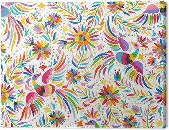 Obraz na Płótnie Mexican hafty bez szwu. Kolorowe i etnicznych ozdobny wzór. Ptaki i kwiaty jasnym tle. Floral tła z jasnym ornamentem etnicznej.