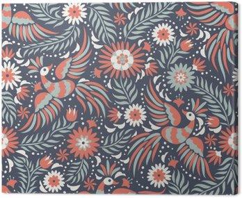 Mexican hafty bez szwu. Kolorowe i etnicznych ozdobny wzór. Ptaki i kwiaty na ciemnym czerwonym i czarnym tle. Floral tła z jasnym ornamentem etnicznej.