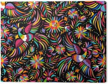 Obraz na Płótnie Mexican hafty bez szwu. Kolorowe i etnicznych ozdobny wzór. Ptaki i kwiaty na ciemnym tle. Floral tła z jasnym ornamentem etnicznej.