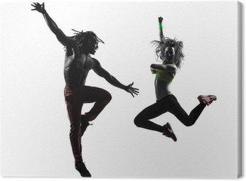 Obraz na Płótnie Mężczyzna para i kobieta wykonywania biznesowe sylwetka taniec zumba