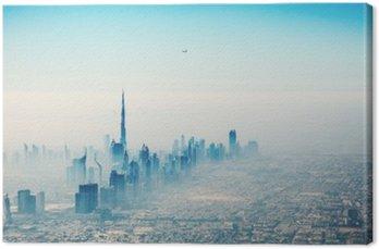 Miasto Dubaj w świcie widok z lotu ptaka