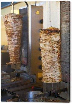 Obraz na Płótnie Mięso gyros na rożnie