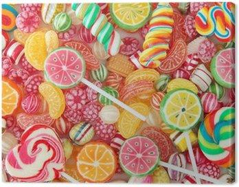 Obraz na Płótnie Mieszane kolorowe owoce Bonbon bliska