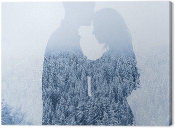 Obraz na Płótnie Miłość w zimie, sylwetka para na tle lasu, podwójna ekspozycja