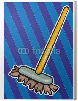 Obraz na Płótnie Miotła, zamiatanie, sprzątanie, rozmowy w, czysty, higieny, dom